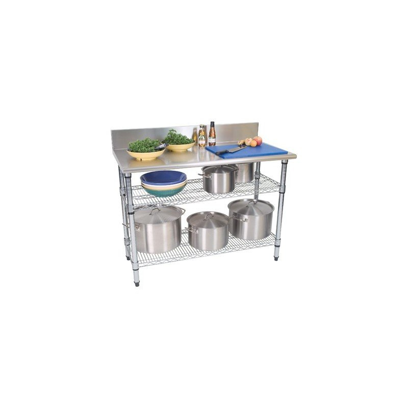 WORK TABLE S/STEEL - 2 TIER - SPLASHBACK - 1300 x 690 x 870mm - 1
