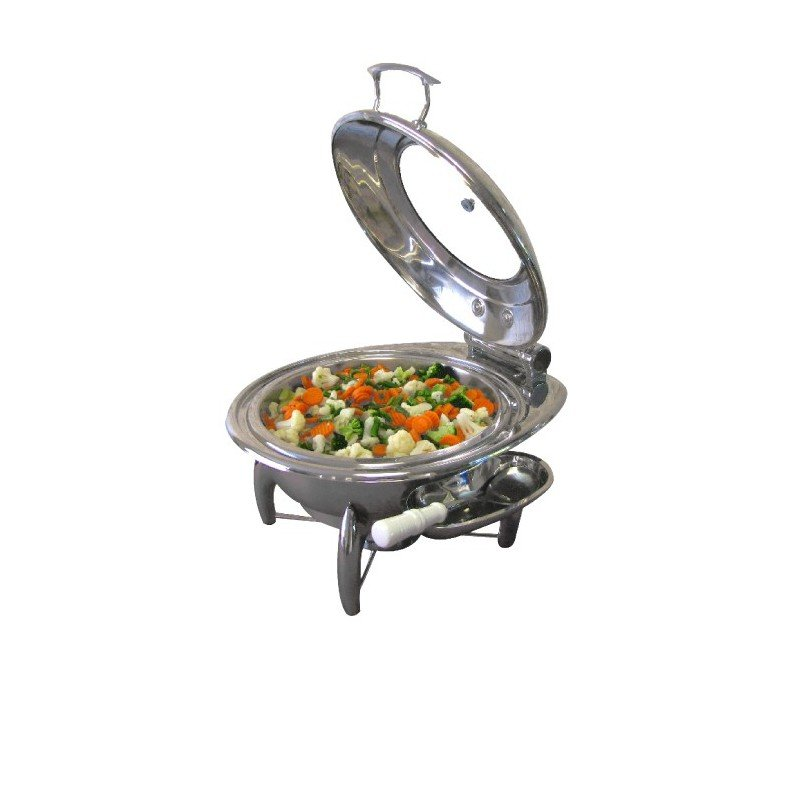 CHAFING DISH INDUCTION - ROUND - GLASS LID 6Lt
