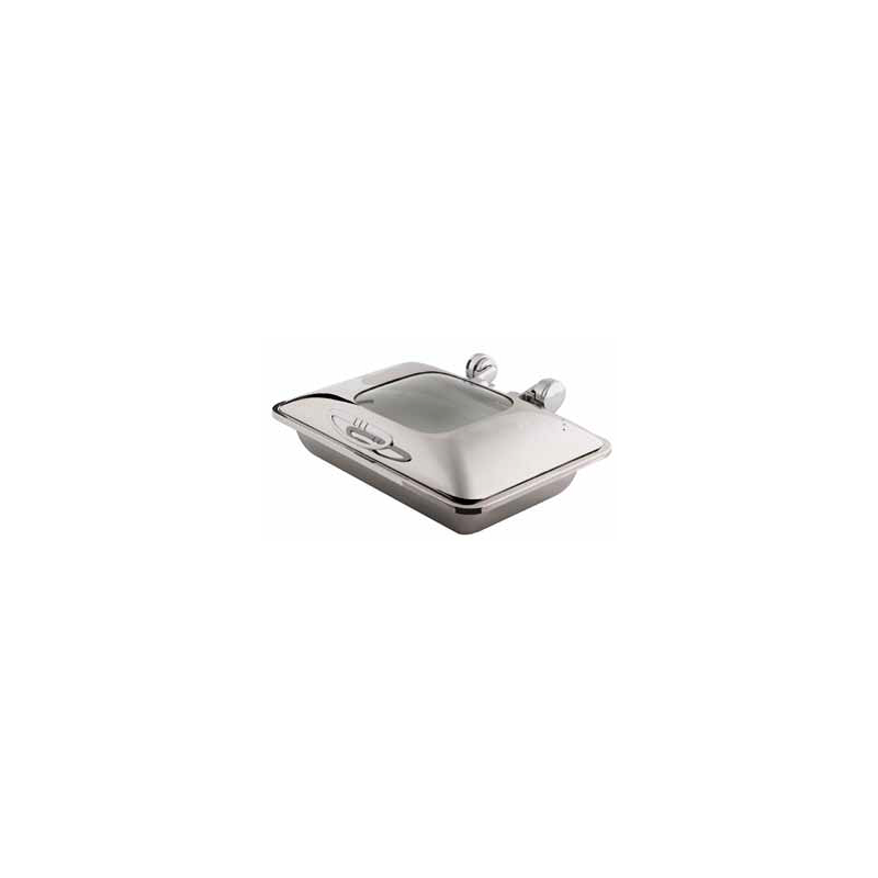 CHAFER INDUCTION RECTANGULAR SMART W WITH GLASS LID - 18/10 S/STEEL - 1