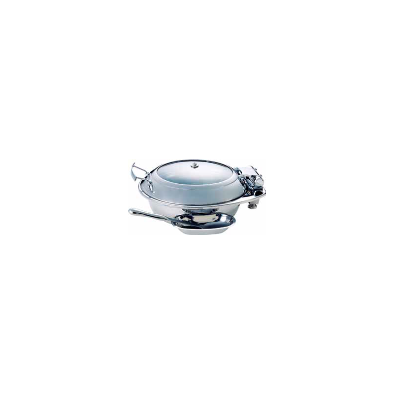 CHAFER INDUCTION ROUND SMART WITH GLASS LID 18/10 S/STEEL SPOON HOLDER OPTIONAL - 1