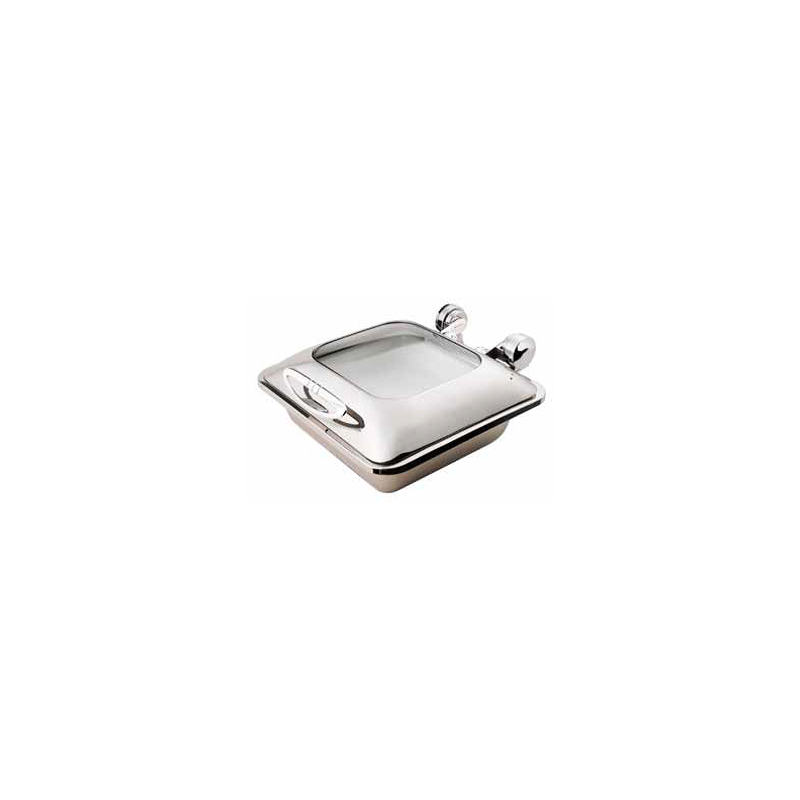 CHAFER INDUCTION SQUARE SMART W WITH GLASS LID - 18/10 S/STEEL - 1