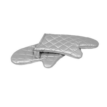 OVEN MITT SILICONE COATED - SILVER - 330mm - PAIR - 1
